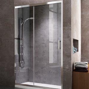 Mampara de ducha Frontal 1+1 con puerta corredera y lateral fijo