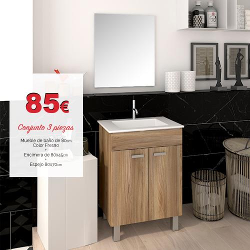 Mueble ba o con lavabo y espejo basic platos de ducha y - Ofertas muebles de bano ...