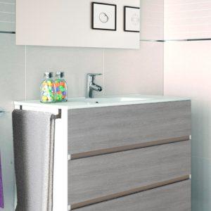Mueble de Baño con tres cajones Dos Colores con Lavabo y Espejo