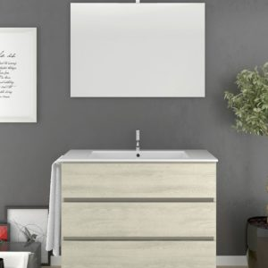 Mueble de Baño con tres cajones Crema con Lavabo y Espejo