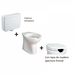 Kit inodoro movilidad reducida apertura frontal cisterna extraplana