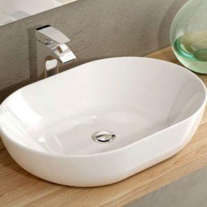 Lavabo de Cerámica sobre Encimera Ovalado Reducido Moderno modelo Monaco 60 marca Art&Bath