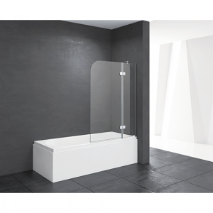 Mampara de bañera fijo+abatible transparente