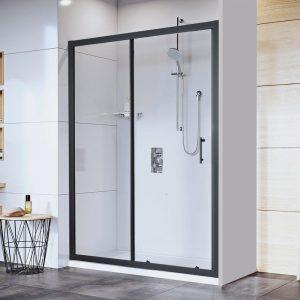 Mampara ducha frontal 1 puerta y 1 panel PERFILERIA NEGRA